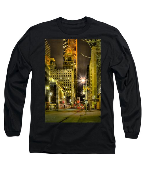 Travis And Lamar Street At Night Long Sleeve T-Shirt