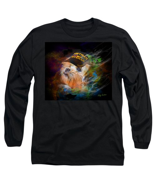 Long Sleeve T-Shirt featuring the digital art Tribute To Canine Veterans by Kathy Tarochione