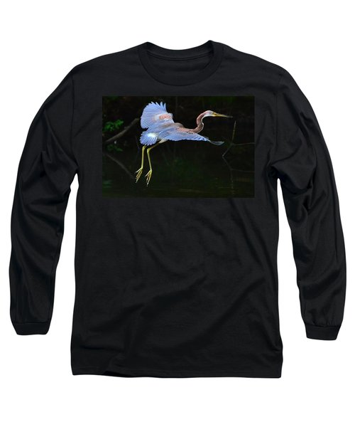 Tricolored Heron Long Sleeve T-Shirt by Charlotte Schafer