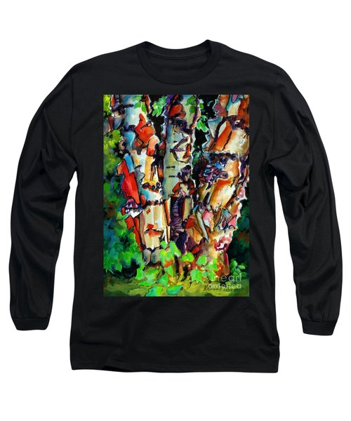 Long Sleeve T-Shirt featuring the painting Trio Birch 2014 by Kathy Braud