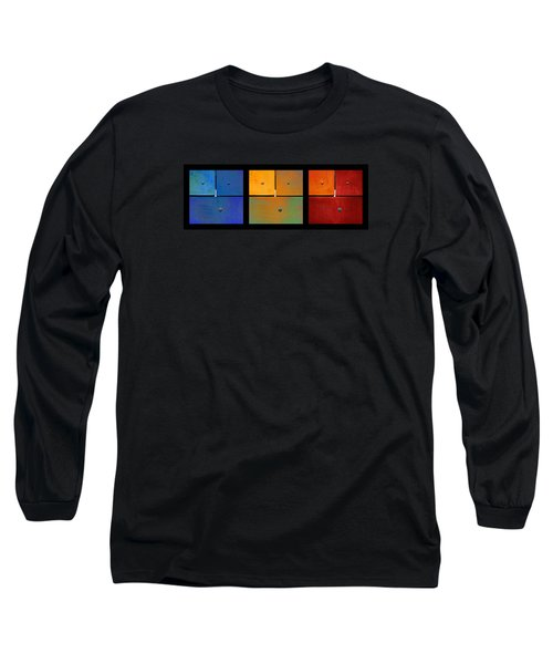 Triptych Blue Green Red - Colorful Rust Long Sleeve T-Shirt by Menega Sabidussi