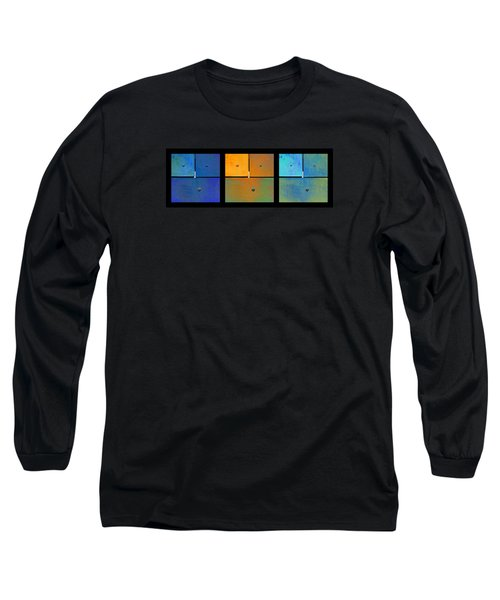 Long Sleeve T-Shirt featuring the photograph Triptych Blue Orange Cyan - Colorful Rust by Menega Sabidussi