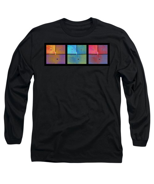 Long Sleeve T-Shirt featuring the photograph Triptych Gold Cyan Magenta - Colorful Rust by Menega Sabidussi