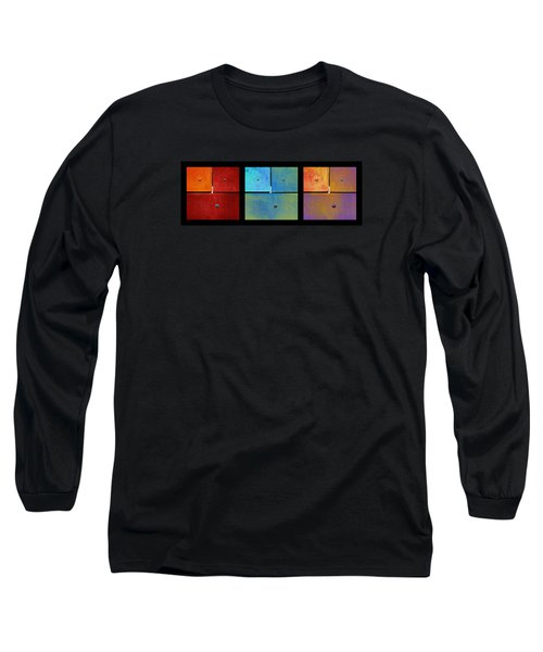 Triptych Red Cyan Purple - Colorful Rust Long Sleeve T-Shirt by Menega Sabidussi