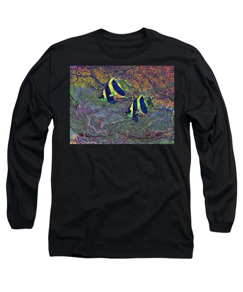 Coral Reef Tropical Fish Colorful Water Art Long Sleeve T-Shirt