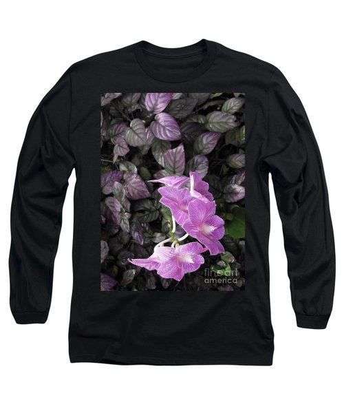 Tropical Orchids Long Sleeve T-Shirt by Ellen Cotton