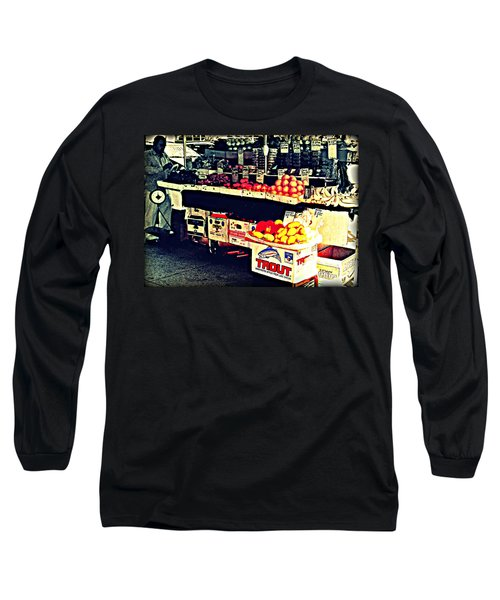 Long Sleeve T-Shirt featuring the photograph Vintage Outdoor Fruit And Vegetable Stand - Markets Of New York City by Miriam Danar