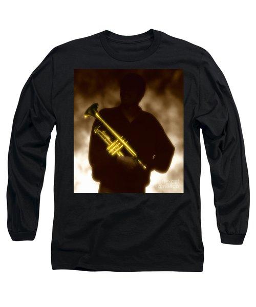 Man Holding Trumpet 1 Long Sleeve T-Shirt