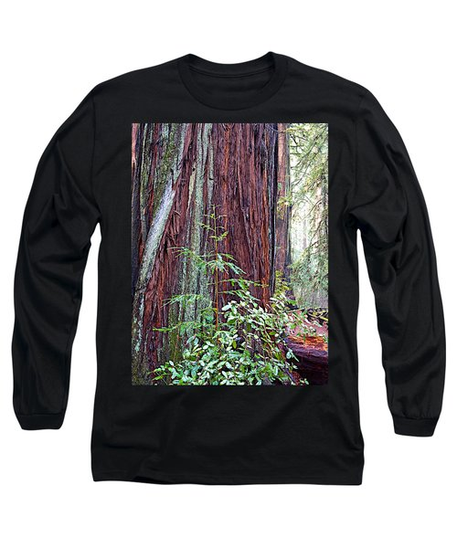 Trunk Of Coastal Redwood In Armstrong Redwoods State Preserve Near Guerneville-ca Long Sleeve T-Shirt