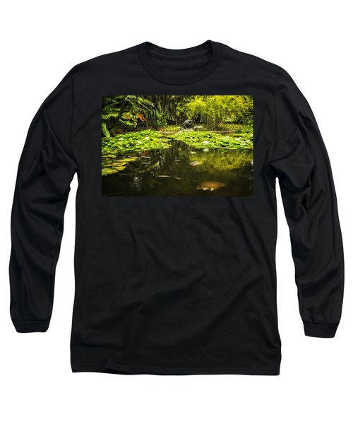 Turtle In A Lily Pond Long Sleeve T-Shirt by Belinda Greb