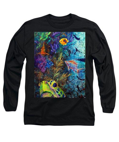 Turtle Wall 3 Long Sleeve T-Shirt by Ashley Kujan