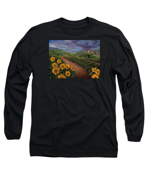 Tuscan Landscape Long Sleeve T-Shirt by Claudia Goodell