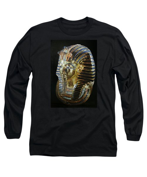 Long Sleeve T-Shirt featuring the painting Tutankamon's Golden Mask by Leena Pekkalainen
