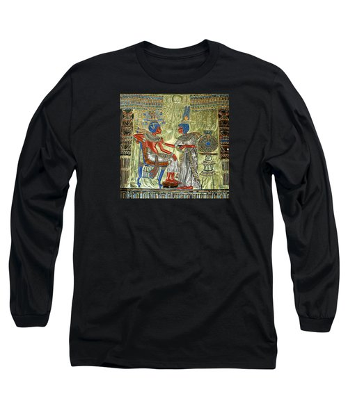 Long Sleeve T-Shirt featuring the painting Tutankhamon's Throne by Leena Pekkalainen