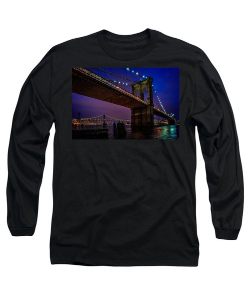 Twilight At The Brooklyn Bridge Long Sleeve T-Shirt