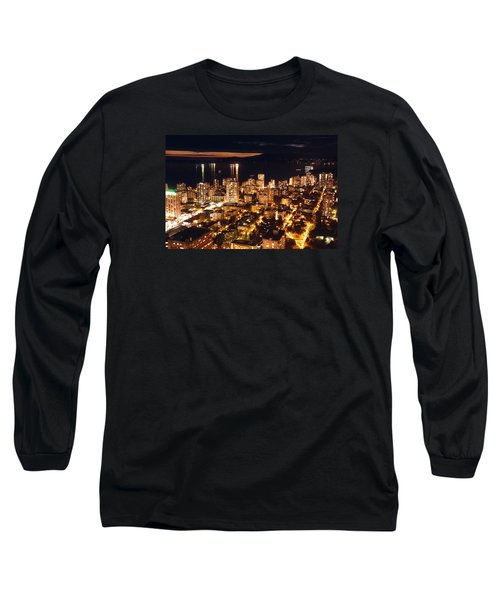 Long Sleeve T-Shirt featuring the photograph Twilight English Bay Vancouver Mdlxvii by Amyn Nasser