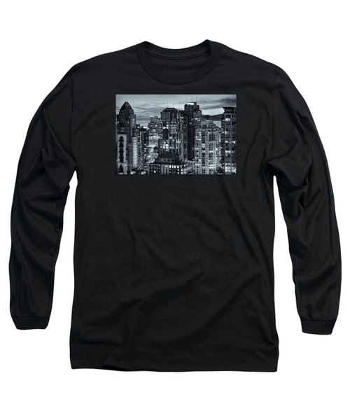 Long Sleeve T-Shirt featuring the photograph Twilight On Cityscape Of Vancouver Overlooking English Bay - Greeting Card by Amyn Nasser