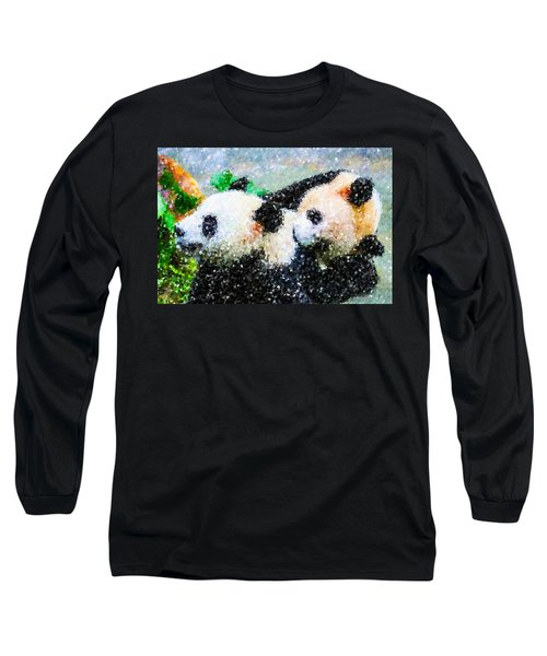 Long Sleeve T-Shirt featuring the digital art Two Cute Panda by Lanjee Chee
