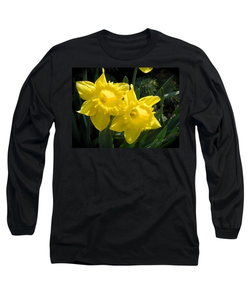 Long Sleeve T-Shirt featuring the photograph Two Daffodils by Kathy Barney