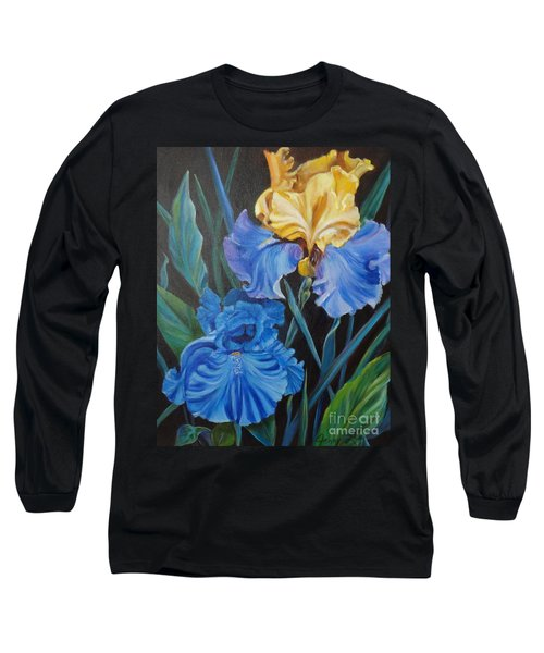 Long Sleeve T-Shirt featuring the painting Two Fancy Iris by Jenny Lee