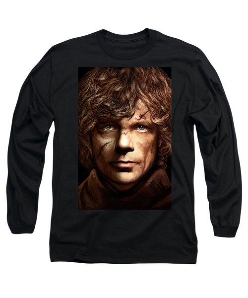 Long Sleeve T-Shirt featuring the painting Tyrion Lannister - Peter Dinklage Game Of Thrones Artwork 2 by Sheraz A