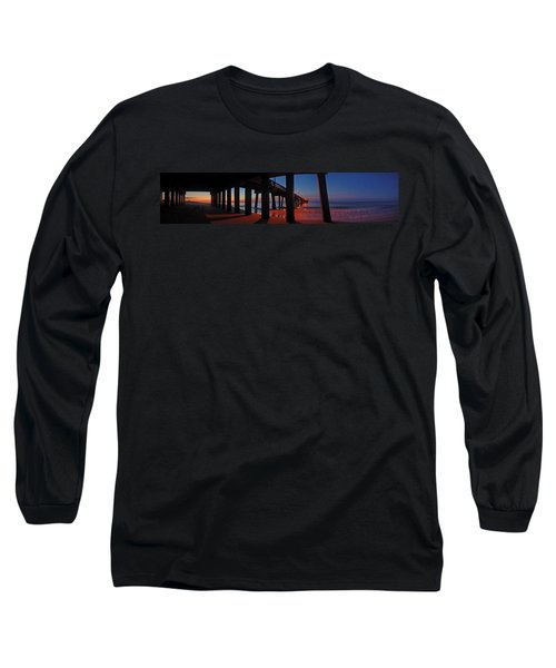 Long Sleeve T-Shirt featuring the digital art Under The Gulf State Pier  by Michael Thomas