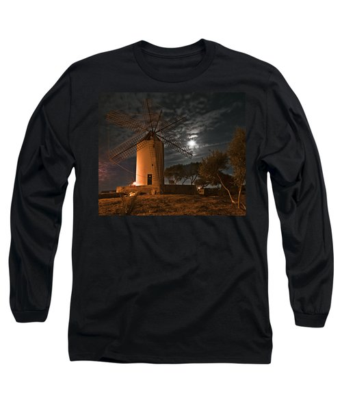 Vintage Windmill In Es Castell Villacarlos George Town In Minorca -  Under The Moonlight Long Sleeve T-Shirt by Pedro Cardona