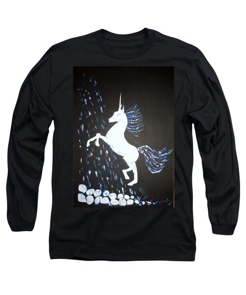 Unicorn Takes A Shower Long Sleeve T-Shirt by Veronica Rickard