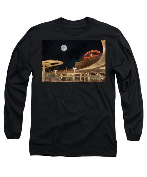 Union Station Denver Under A Full Moon Long Sleeve T-Shirt by Juli Scalzi