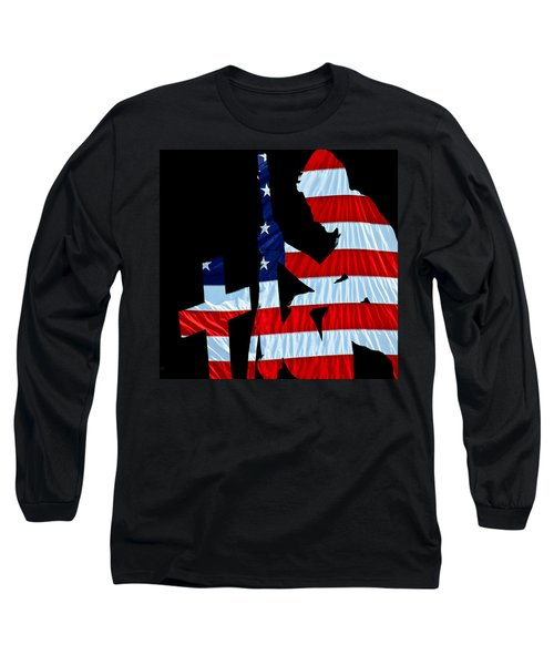 A Time To Remember United States Flag With Kneeling Soldier Silhouette Long Sleeve T-Shirt by Bob Orsillo