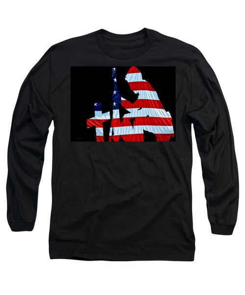 A Time To Remember United States Flag With Kneeling Soldier Silhouette Long Sleeve T-Shirt