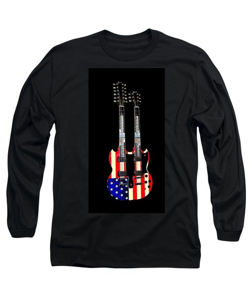 Long Sleeve T-Shirt featuring the photograph U S Flag Gibson Guitar Poster by Jean Goodwin Brooks