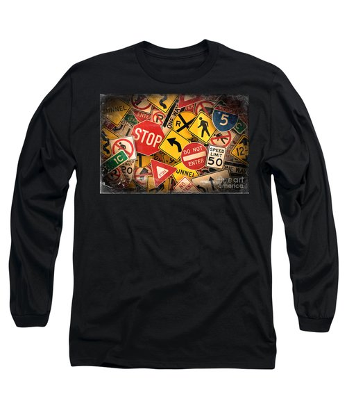Long Sleeve T-Shirt featuring the photograph Usa Traffic Signs by Carsten Reisinger