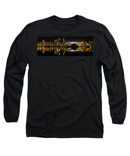 Long Sleeve T-Shirt featuring the photograph Vancouver Bc Skyline Along False Creek At Night by JPLDesigns