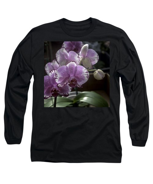 Variegated Fuscia And White Orchid Long Sleeve T-Shirt by Lynn Palmer
