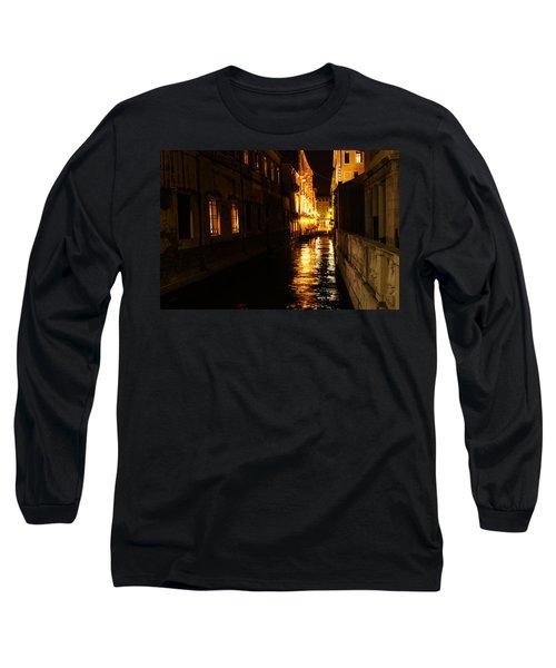 Long Sleeve T-Shirt featuring the photograph Venetian Golden Glow by Georgia Mizuleva