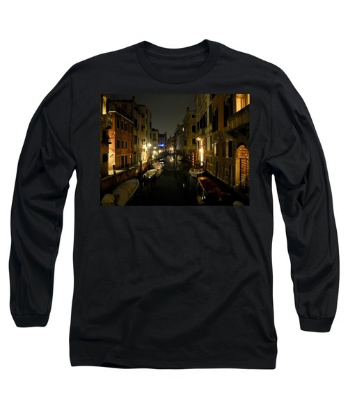 Long Sleeve T-Shirt featuring the photograph Venice At Night by Silvia Bruno