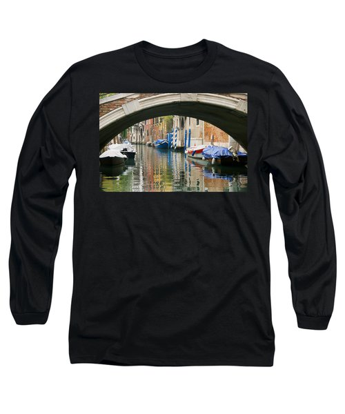Long Sleeve T-Shirt featuring the photograph Venice Canal Boat by Silvia Bruno