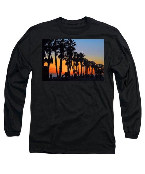 Long Sleeve T-Shirt featuring the photograph Ventura Boardwalk Silhouettes by Lynn Bauer