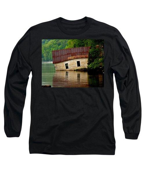 Long Sleeve T-Shirt featuring the photograph Vermont Boathouse by John Haldane