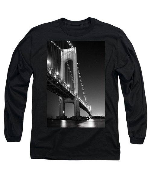 Long Sleeve T-Shirt featuring the photograph Verrazano Bridge At Night - Black And White by Gary Heller
