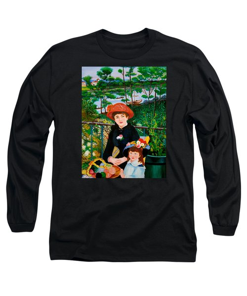 Version Of Renoir's Two Sisters On The Terrace Long Sleeve T-Shirt by Cyril Maza