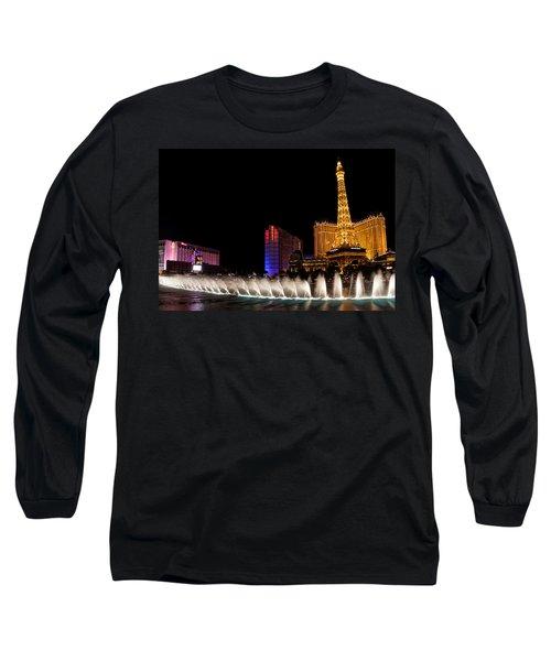 Vibrant Las Vegas - Bellagio's Fountains Paris Bally's And Flamingo Long Sleeve T-Shirt