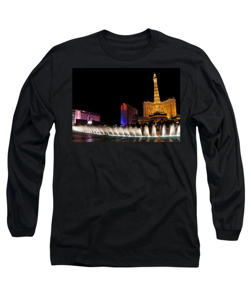 Vibrant Las Vegas - Bellagio's Fountains Paris Bally's And Flamingo Long Sleeve T-Shirt