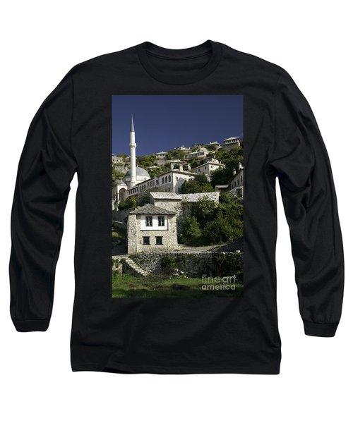 views of pocitelj in Bosnia Hercegovina with minaret bridge and river Long Sleeve T-Shirt