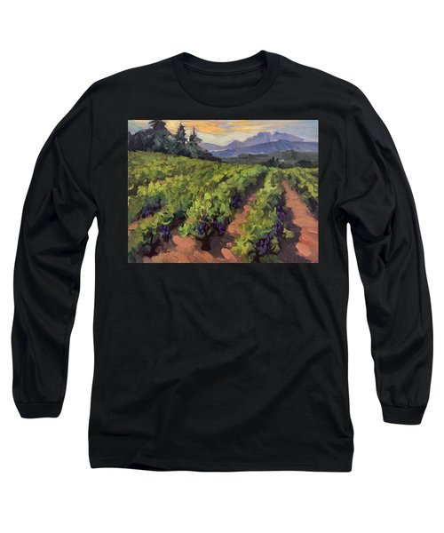 Vineyard At Dentelles Long Sleeve T-Shirt by Diane McClary