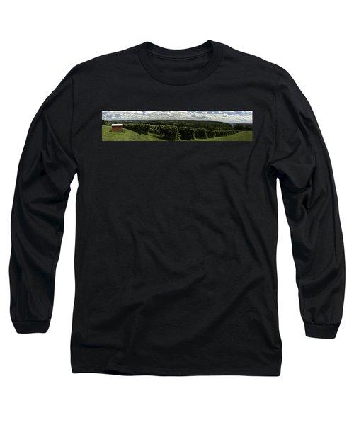 Vineyard On Keuka Lake Long Sleeve T-Shirt by Richard Engelbrecht