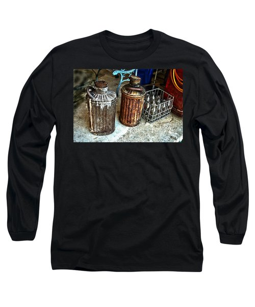 Long Sleeve T-Shirt featuring the photograph Hdr Vintage Art  Cans And Bottles by Lesa Fine