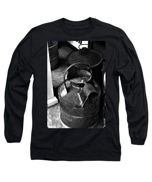 Long Sleeve T-Shirt featuring the photograph Vintage B/w Galvanized Container by Lesa Fine