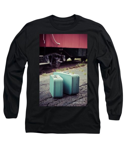 Vintage Blue Suitcases With Red Caboose Long Sleeve T-Shirt